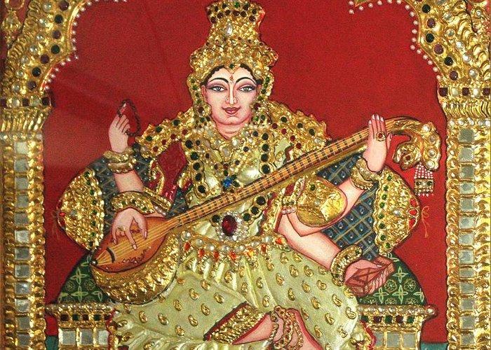 Tanjore Greeting Card featuring the painting Saraswathi by Jayashree