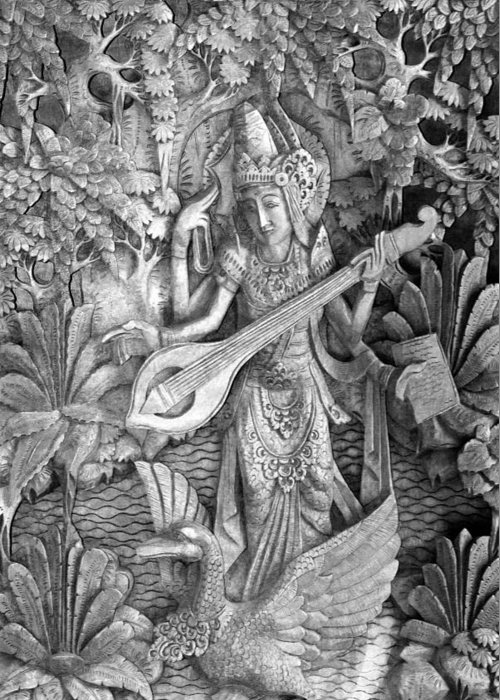 Saraswati Greeting Card featuring the photograph Saraswati - Supreme Goddess by Karon Melillo DeVega