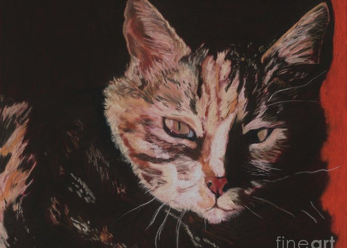 Pat Saunders-white Pet Portraits Greeting Card featuring the painting Sasha by Pat Saunders-White