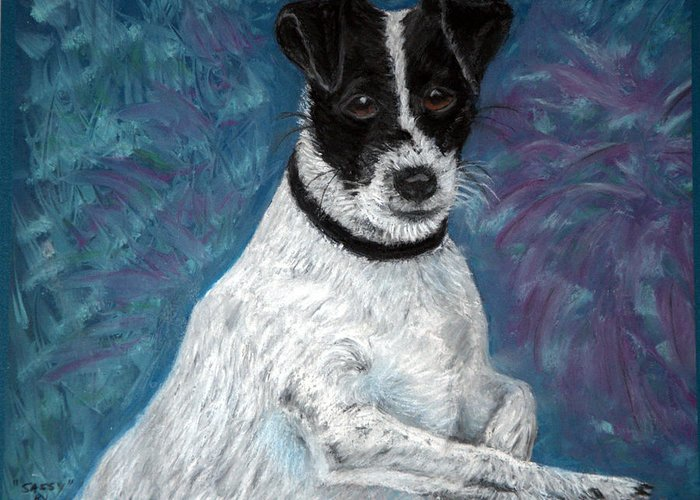 Terriers Greeting Card featuring the pastel Sassy Pastel by Antonia Citrino