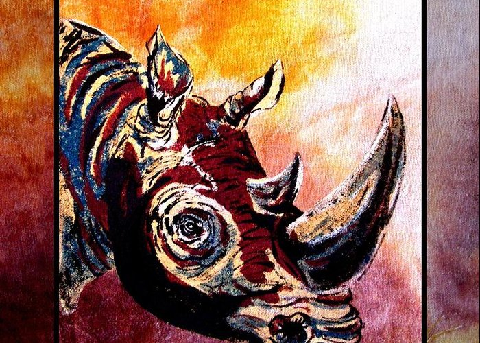 Rhino Painting Greeting Card featuring the painting Save The Rhino by Sylvie Heasman