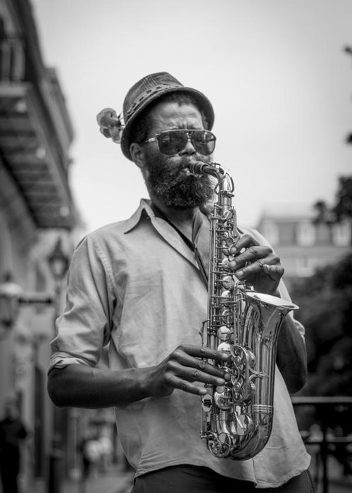 Jazz In The Streets Of New Orleans Greeting Card featuring the photograph Saxophone Musician New Orleans by David Morefield