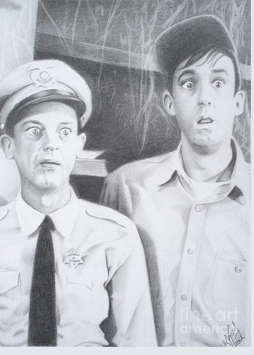 Andy Griffith Greeting Card featuring the drawing Scared Silly by Kendra Tharaldsen-Franklin