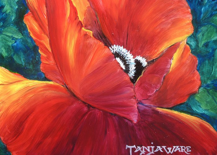 Poppy Greeting Card featuring the painting Scarlet Poppy by Tanja Ware