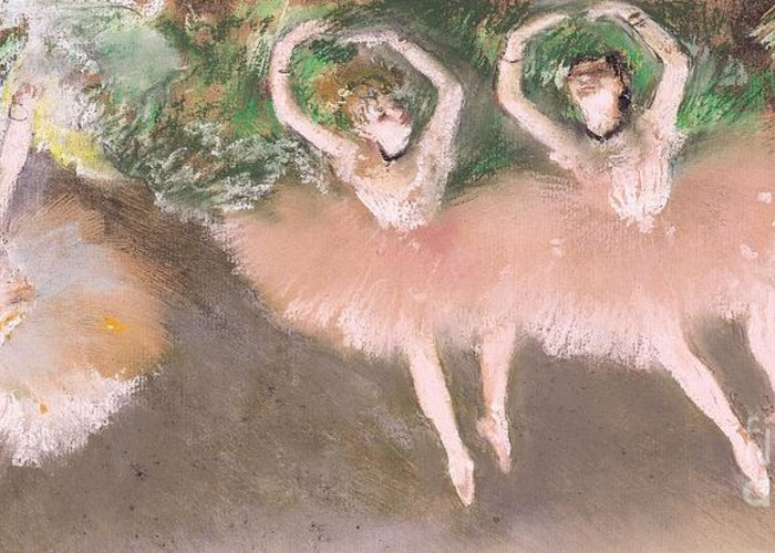 Scene; Ballet; Impressionist; Dance; Dancer; Dancers; Dancing; Ballerina; Ballerinas; Print; Printmaking; Green; Pink; Movement; Grace; Performance; Entertainment; Paris; Parisian; Belle Epoque; Tutu; Tutus; Female; En Pointe; Impressionistic Greeting Card featuring the pastel Scene De Ballet by Edgar Degas