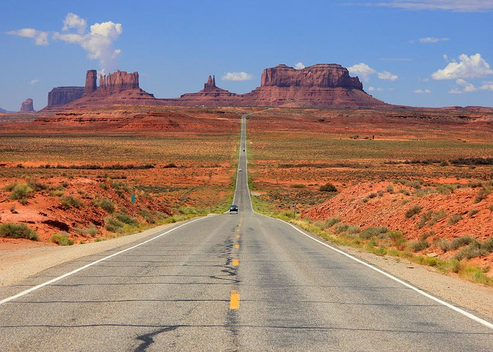 Highway 163 Greeting Card featuring the photograph Scenic Road Into Monument Valley by Johnny Adolphson