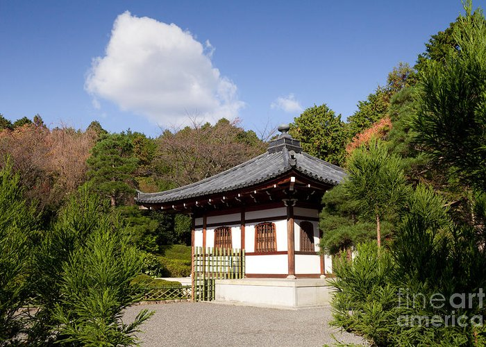 Garden Greeting Card featuring the photograph School Building Ryoan-ji Temple Kyoto by Colin and Linda McKie