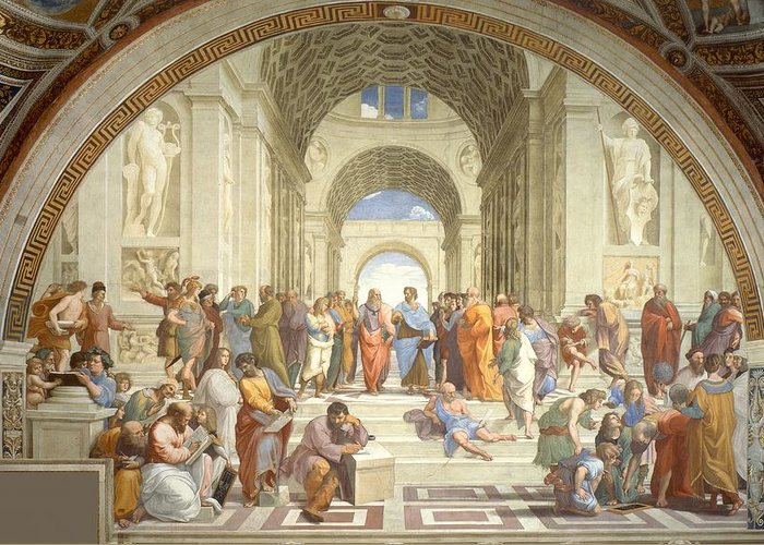 Art Greeting Card featuring the painting School Of Athens by Raphael