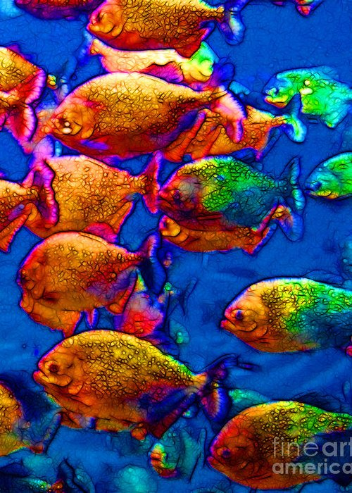 Florida Greeting Card featuring the photograph School Of Piranha V3 by Wingsdomain Art and Photography