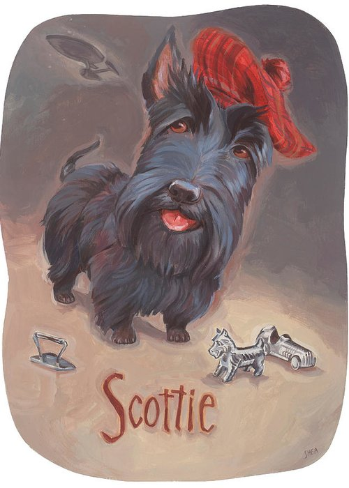 Scottie Art Greeting Card featuring the painting Scottie's Beaming by Shawn Shea