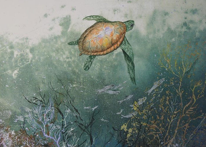 Gyotaku Greeting Card featuring the mixed media Sea Turtle by Nancy Gorr