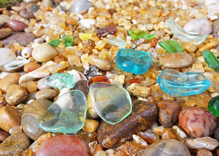 Decorative Greeting Card featuring the photograph Seaglass Coastal Beach Rock Garden Agates by Baslee Troutman