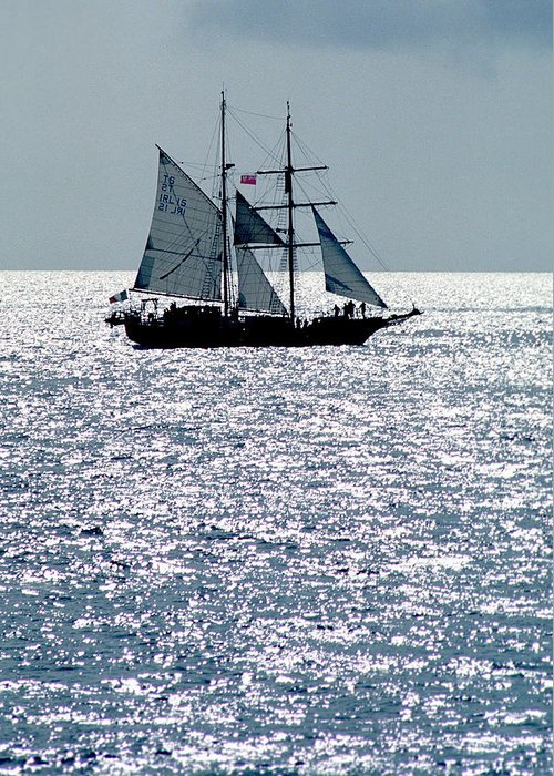 Boat; Nature; Nobody; Outdoors; Outside; Sail; Sailing Ship; Sails; Scenics; Sea; Sea & Oceans; Ship; Vessel; Water Greeting Card featuring the photograph Seascape by Anonymous