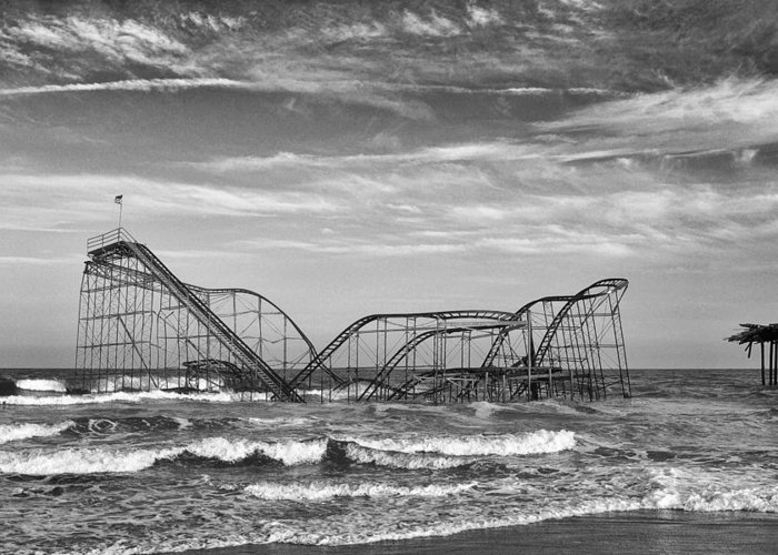 Coaster Greeting Card featuring the photograph Seaside Heights - Jet Star Roller Coaster by Niday Picture Library