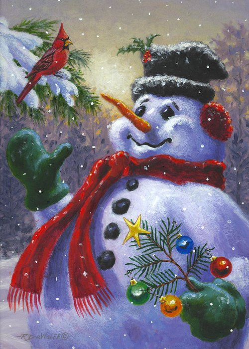 Snowman Greeting Card featuring the painting Seasons Greetings by Richard De Wolfe