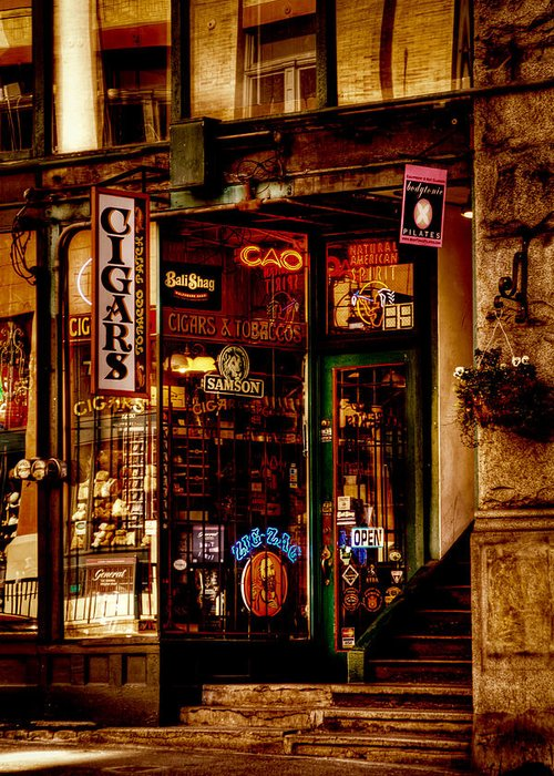 Pioneer Square Seattle Greeting Card featuring the photograph Seattle Cigar Shop by David Patterson