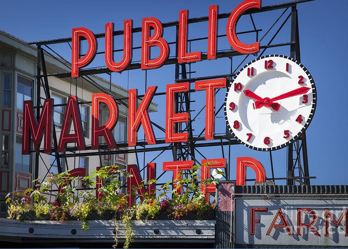 America Greeting Card featuring the photograph Seattle Market by Brian Jannsen