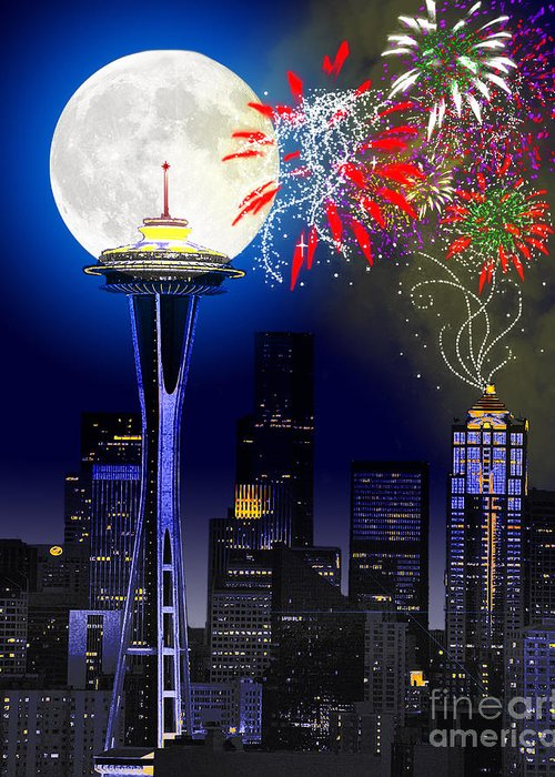 Seattle Skyline Greeting Card featuring the painting Seattle Skyline by Methune Hively