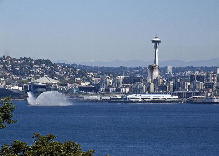 Seattle Greeting Card featuring the photograph Seattle Space Needle And Fire Boat by Ron Roberts