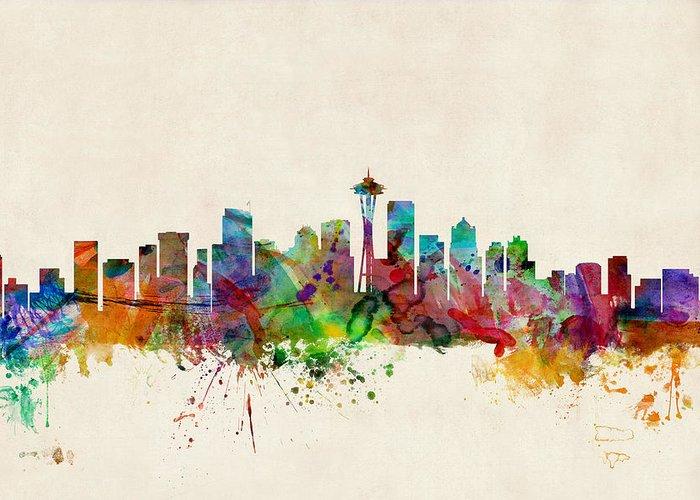 Watercolour Greeting Card featuring the digital art Seattle Washington Skyline by Michael Tompsett