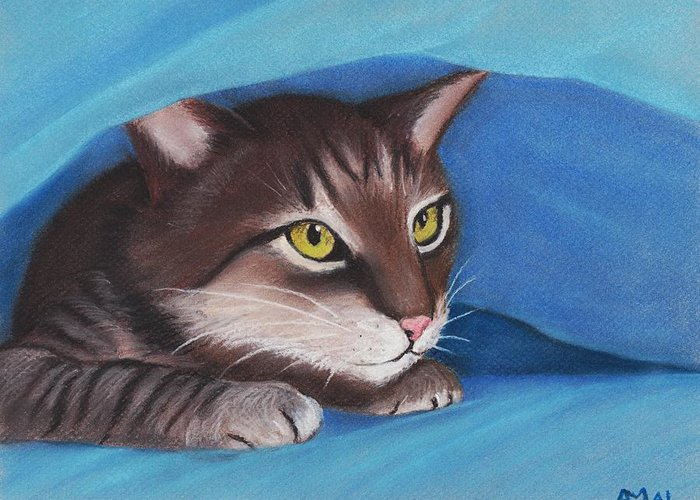 Pastel Greeting Card featuring the painting Secret Hideout by Anastasiya Malakhova