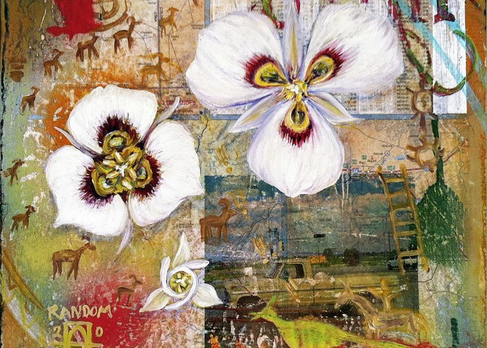 Sego Lily Greeting Card featuring the mixed media Sego Utah by Andrea LaHue aka Random Act