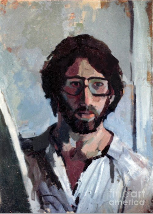 Torah Greeting Card featuring the painting Self Portrait 1982 by David Baruch Wolk