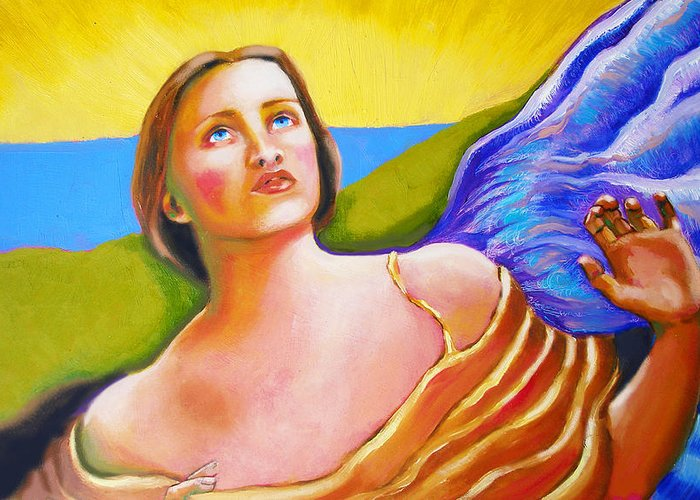 Angels Greeting Card featuring the painting Sense Of Sight After Swynnerton by Susi Franco