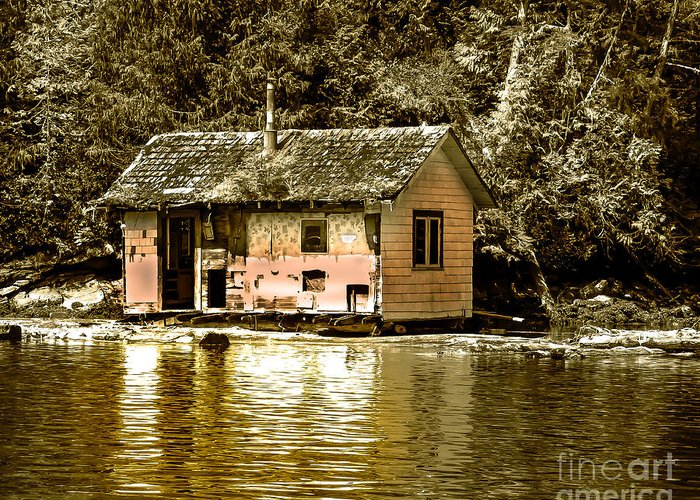 Sepia Greeting Card featuring the photograph Sepia Floating House by Robert Bales