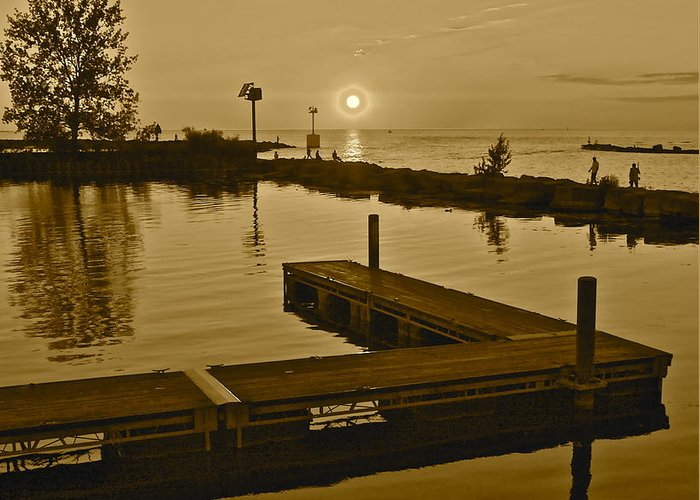 Sunset Greeting Card featuring the photograph Sepia Sunset by Frozen in Time Fine Art Photography