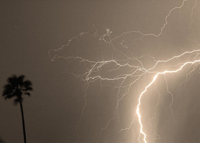 Lightning Greeting Card featuring the photograph Sepia Tropical Thunderstorm Night by James BO Insogna