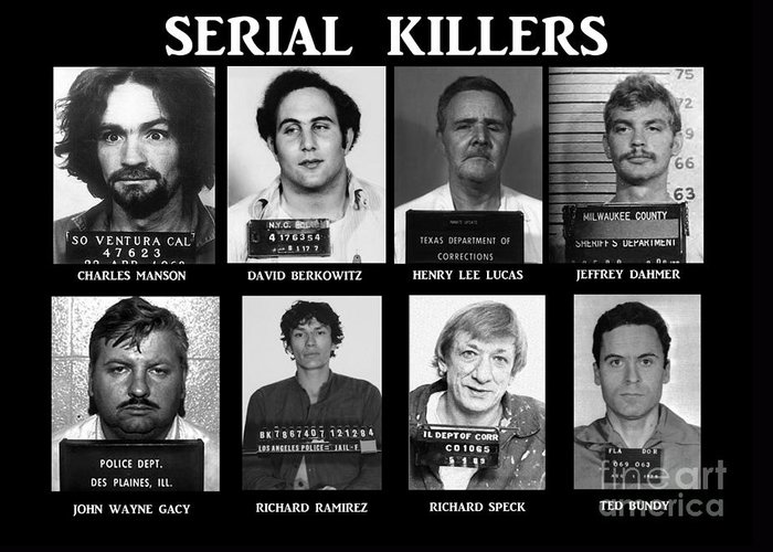 Paul Ward Greeting Card featuring the photograph Serial Killers - Public Enemies by Paul Ward