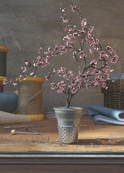 Cherry Blossom Greeting Card featuring the digital art Sew Tiny by Cynthia Decker