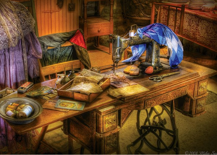 Savad Greeting Card featuring the photograph Sewing Machine - Sewing Machine Iv by Mike Savad