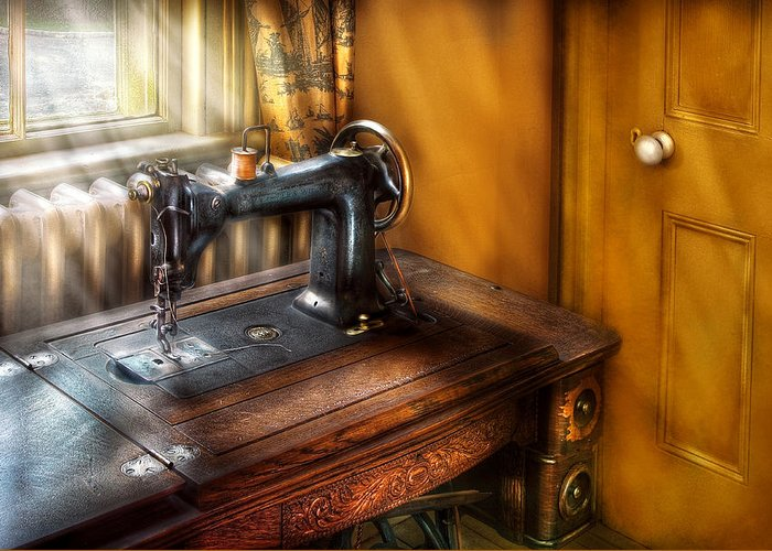 Savad Greeting Card featuring the photograph Sewing Machine - The Sewing Machine by Mike Savad