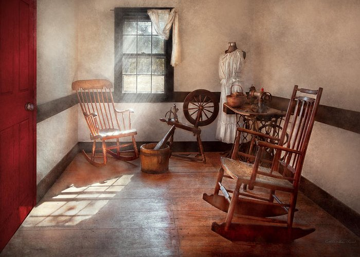 Savad Greeting Card featuring the photograph Sewing - Room - Grandma's Sewing Room by Mike Savad