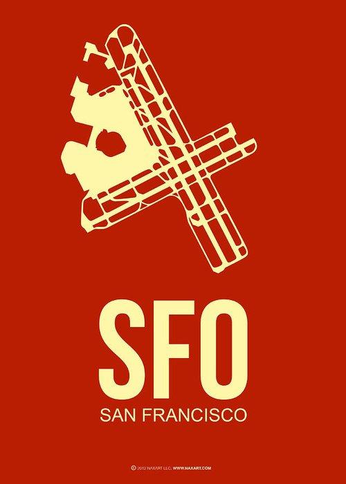 San Francisco Greeting Card featuring the digital art Sfo San Francisco Airport Poster 2 by Naxart Studio