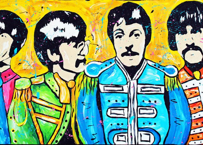Beatles Greeting Card featuring the painting Sgt. Pepper's Lonely Hearts Club by Tara Richelle