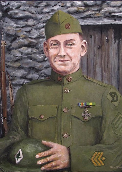 Sgt Sam Avery Greeting Card featuring the painting Sgt Sam Avery by Jack Skinner