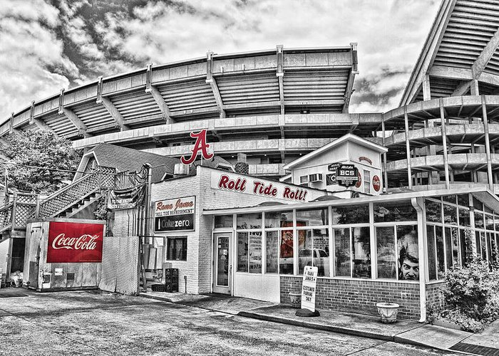 Selective Color Greeting Card featuring the photograph Shadow Of The Stadium by Scott Pellegrin
