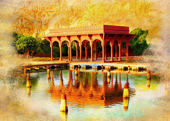 Pakistan Greeting Card featuring the painting Shalimar Gardens by Catf