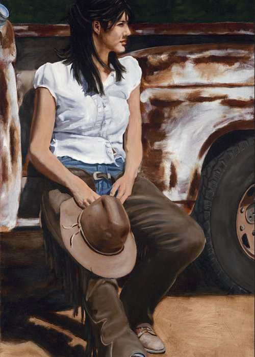Cowgirl Greeting Card featuring the painting Shanti Waiting by Jack Atkins