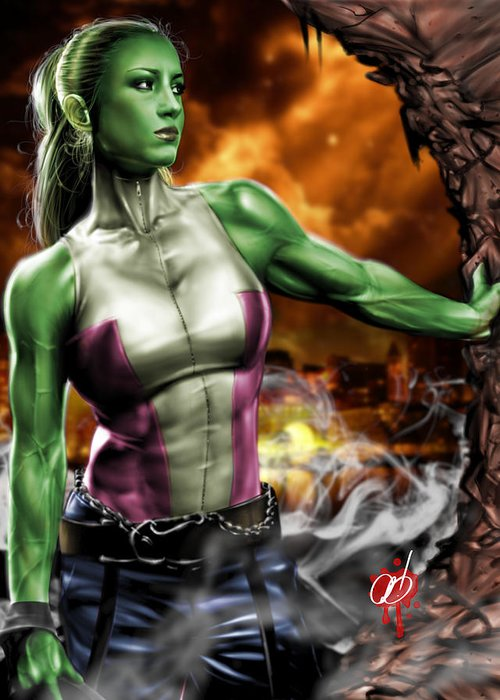 She Greeting Card featuring the painting She-hulk by Pete Tapang