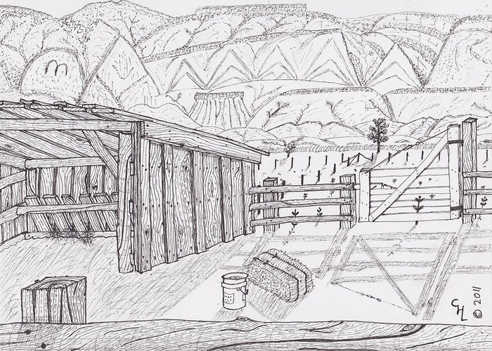 Landscape Greeting Card featuring the drawing Shed 3 by Clark Letellier