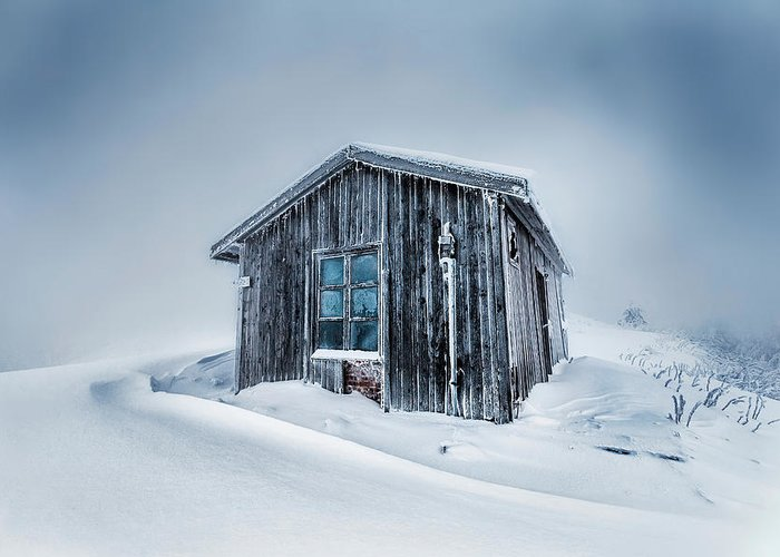 Balkan Mountains Greeting Card featuring the photograph Shed In The Blizzard by Evgeni Dinev