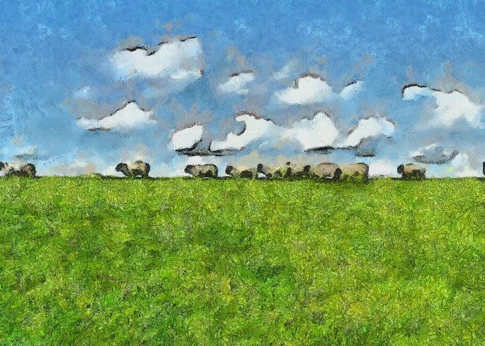 Sheep Greeting Card featuring the painting Sheep Herd by Ayse Deniz