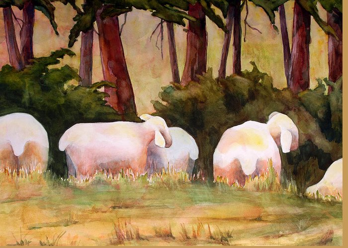 Sheep Greeting Card featuring the painting Sheep In The Meadow by Blenda Studio