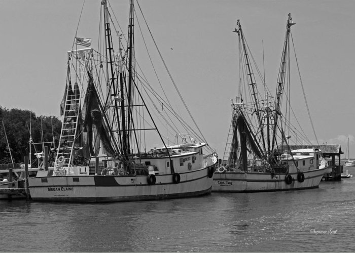 Black And White Greeting Card featuring the photograph Shem Creek Shrimpers - Black And White by Suzanne Gaff
