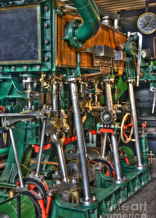 Heiko Greeting Card featuring the photograph Ship Engine by Heiko Koehrer-Wagner