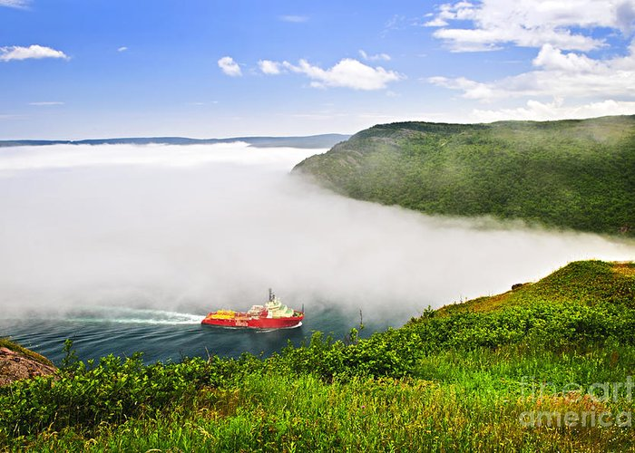 Ship Greeting Card featuring the photograph Ship Entering The Narrows Of St John's by Elena Elisseeva
